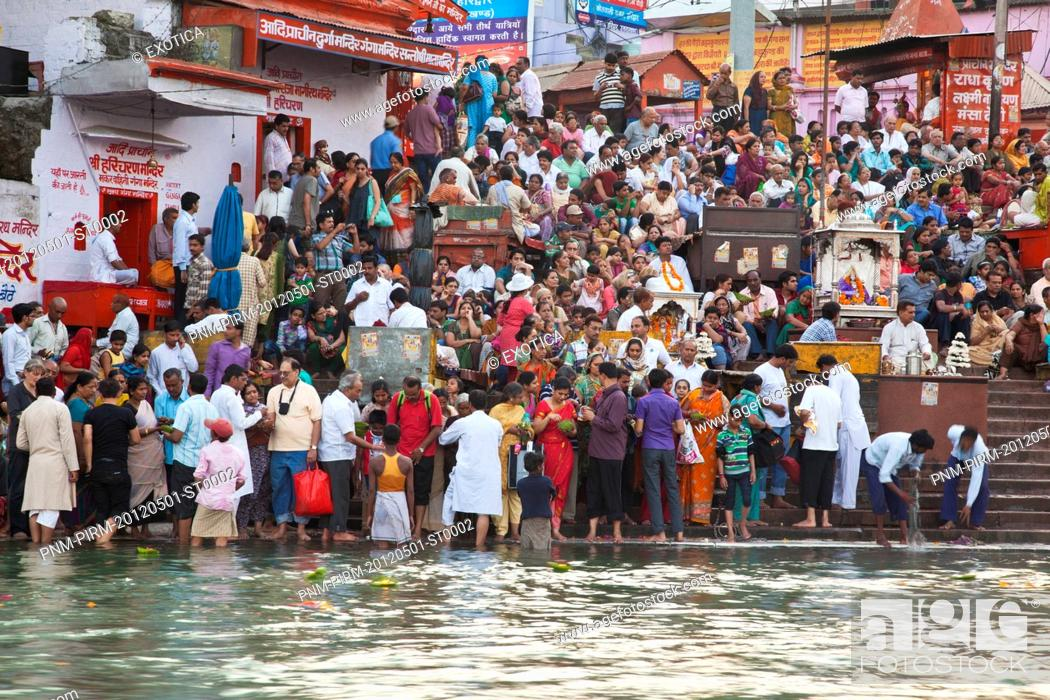 Stock Photo: Pilgrims at Har Ki Pauri, River Ganges, Haridwar, Uttarakhand, India.
