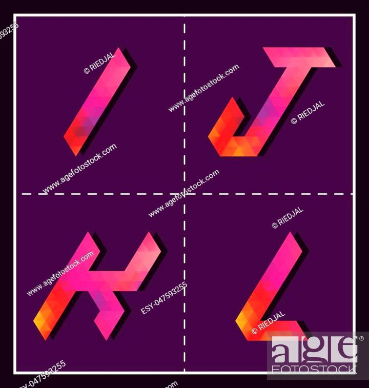 Stock Vector: colorful polygonal font for various use.