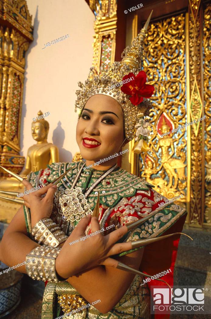 Thailand Bangkok Tempeltanzerin Half Portrait Series Asia