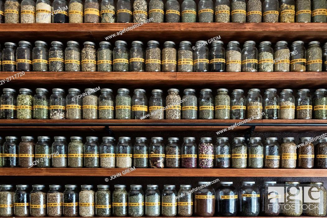 Stock Photo: Herbal apothacary shop.