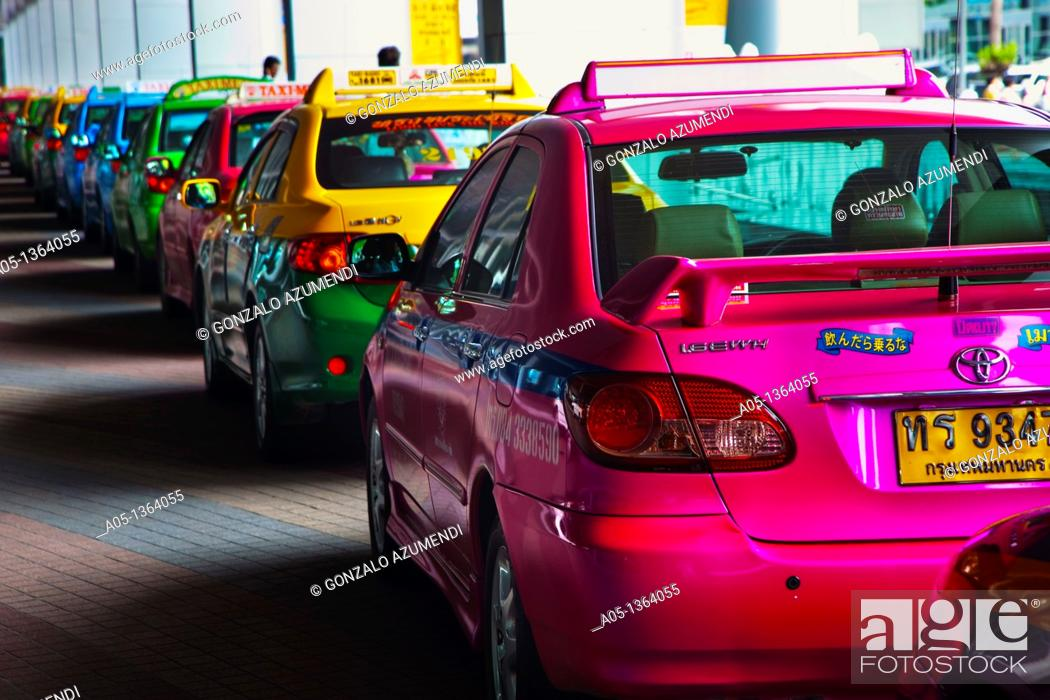 Stock Photo: Traffic in Bangkok, Taxi, Thailand, Southeast Asia.
