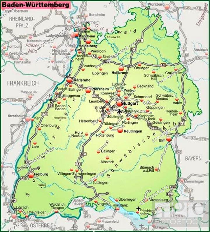 Karte Von Baden Wuerttemberg Mit Verkehrsnetz In Pastellgrun