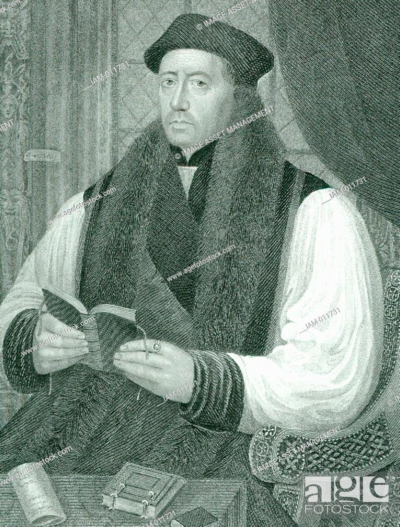 Stock Photo: Thomas Cranmer (1489-1556) English prelate: Archbishop of Canterbury. Under Henry VIII he adopted the Protestant faith. Under Mary I he condemned for heresy and.