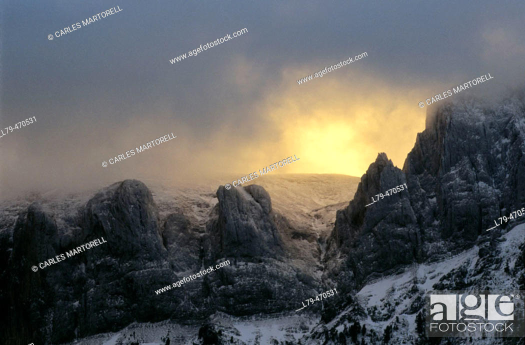 Stock Photo: Sunset in Selva de Oza (Pirineo de Huesca). Spain.