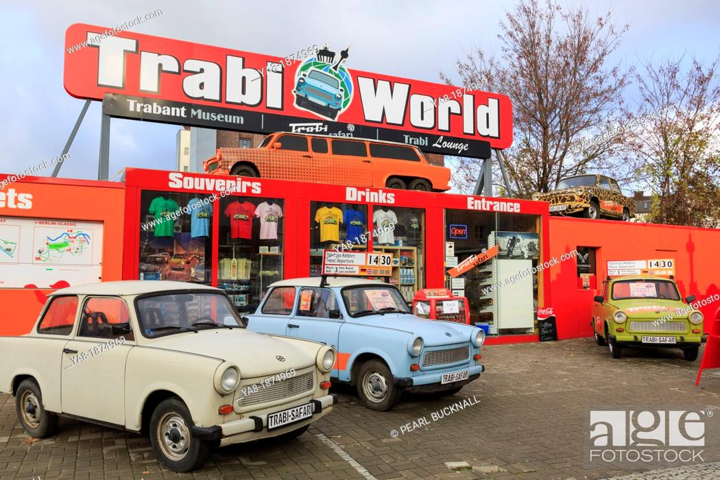 Stock Photo: Zimmer, Berlin, Germany, Europe  Trabi World Trabant museum and cars used for city sightseeing tours outside Trabi World  Only vehicles available in former east.