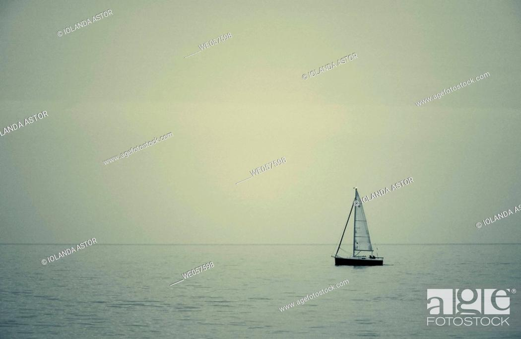 Stock Photo: Sailing boat. Mediterranean Sea.