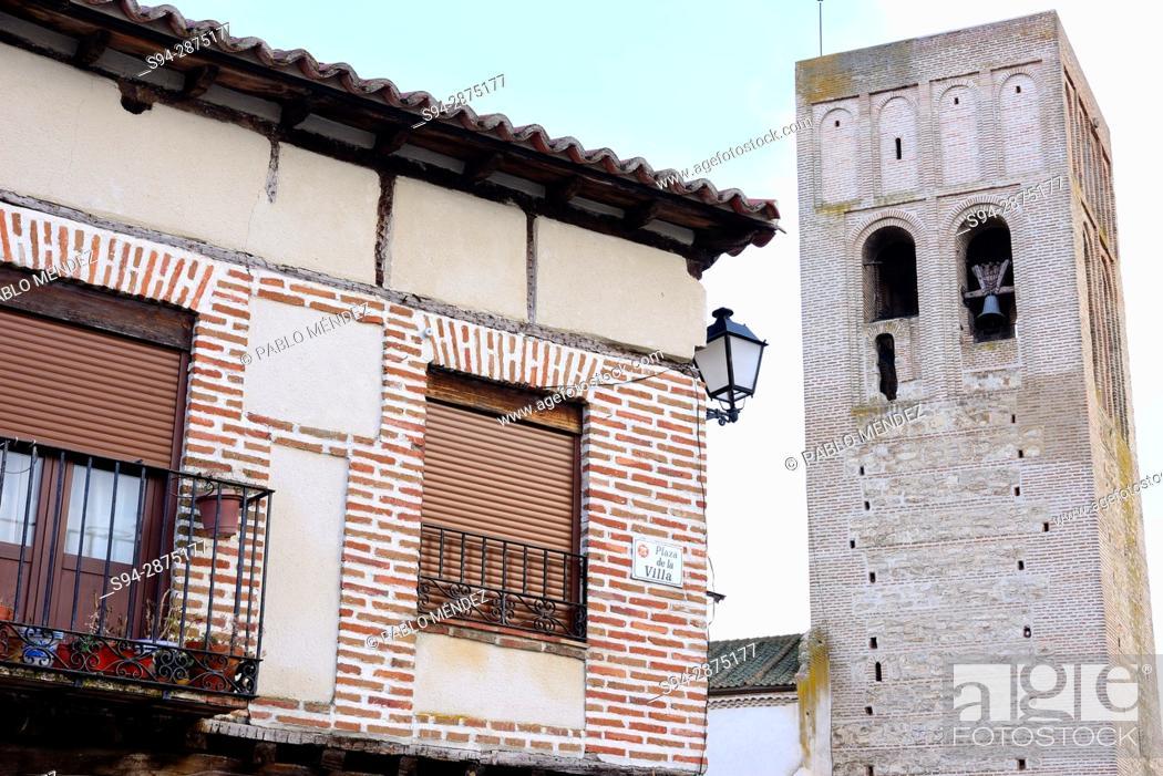 Stock Photo: Church of San Martin. Plaza de la Villa or Main square of Arevalo, Avila, Spain.