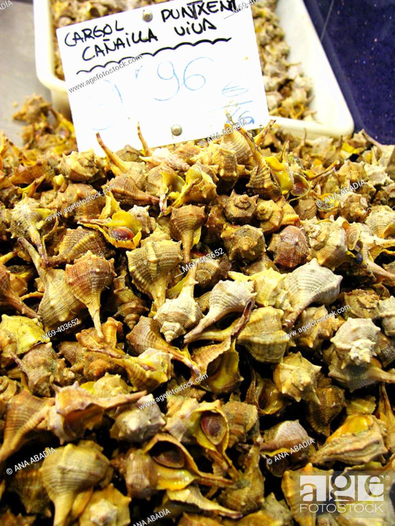 Stock Photo: Cañaillas. La Boquería market. Barcelona. Spain.