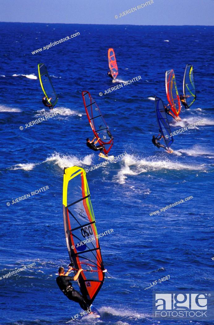 Stock Photo: Windsurfer, Pozo Izquierdo, Gran Canaria, Canary Islands, Spain.