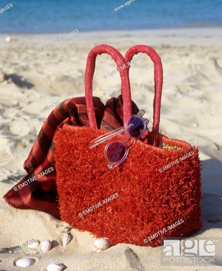 Stock Photo: Red beach bag.