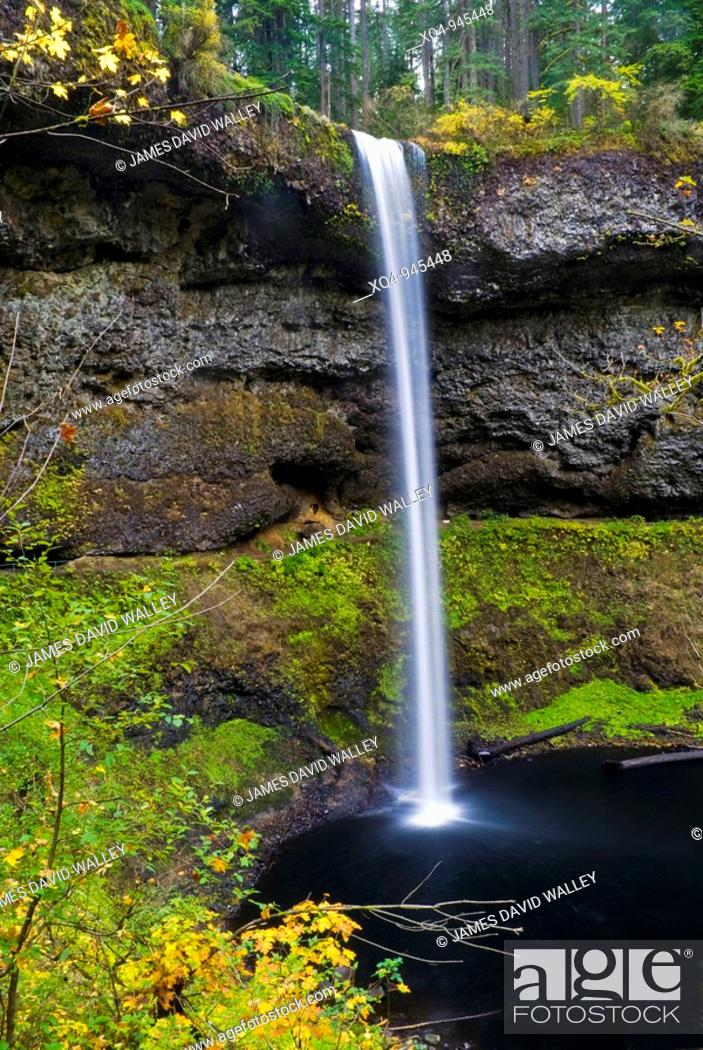 Stock Photo: South Falls in autumn, Silver Falls State Park, Oregon, USA.