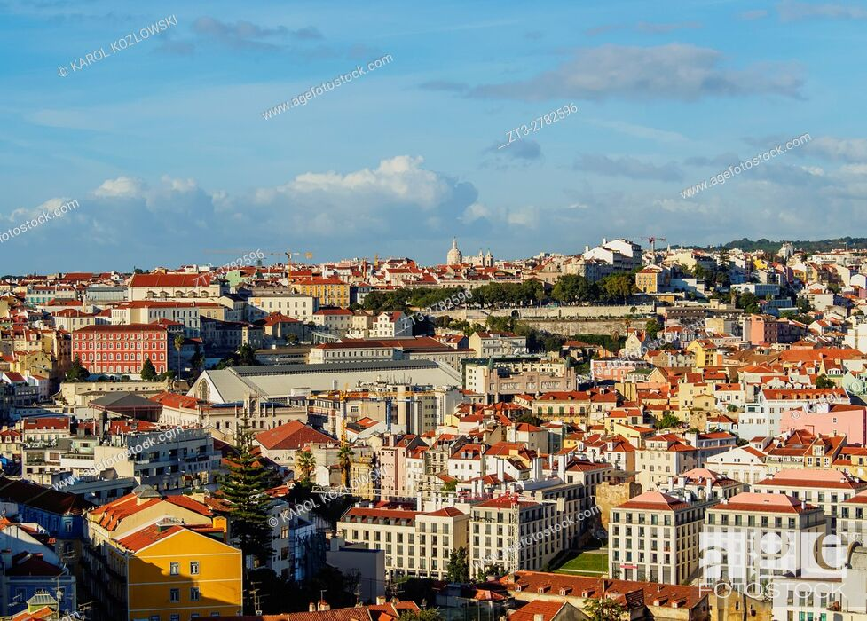 Stock Photo: Portugal, Lisbon, Cityscape viewed from the Miradouro da Graca.