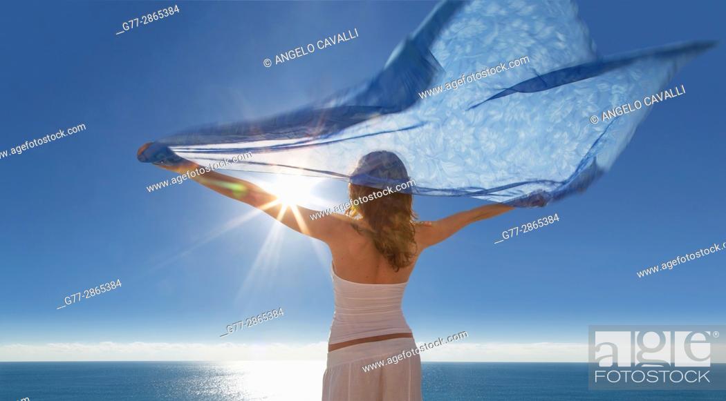 Stock Photo: Young woman on the beach of Miami Beach, Florida, Usa.