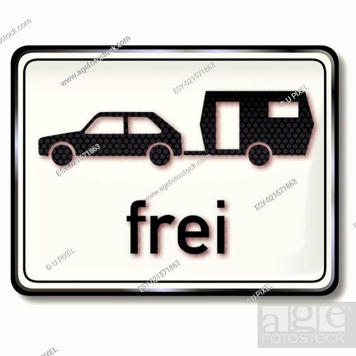 Stock Vector: Verkehrsschild Auto mit Wohnwagen frei.