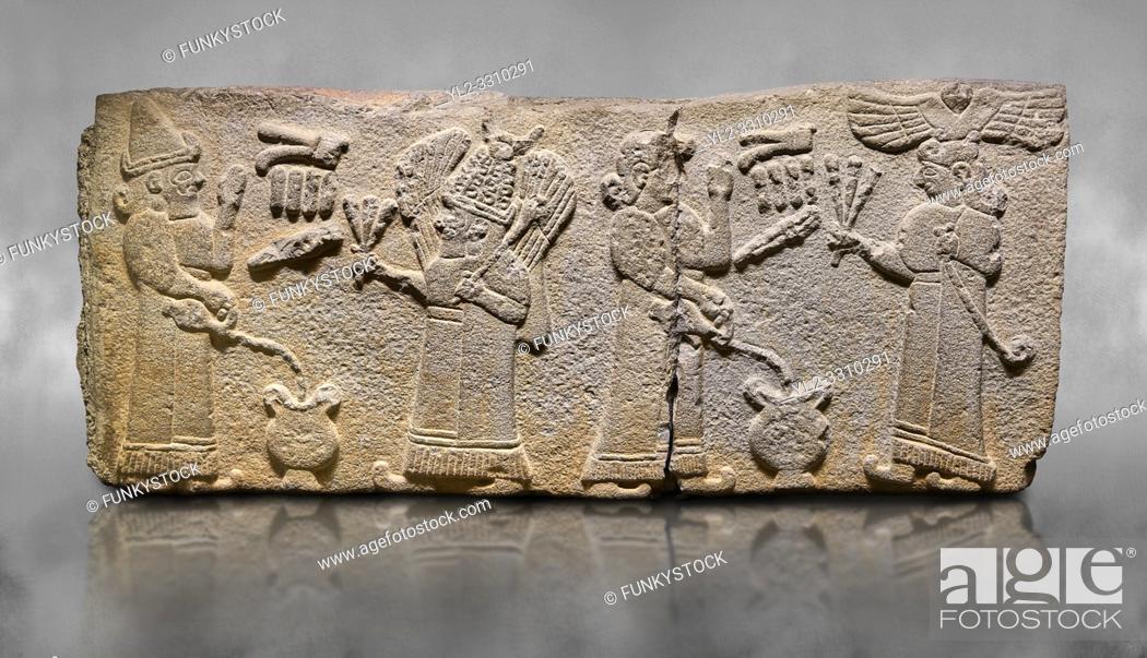 Stock Photo: Aslantepe Monumental Hittite relief sculpted orthostat stone panel. Limestone, Aslantepe, Malatya, 1200-700 B. C. . Scene of the king's offering drink and.