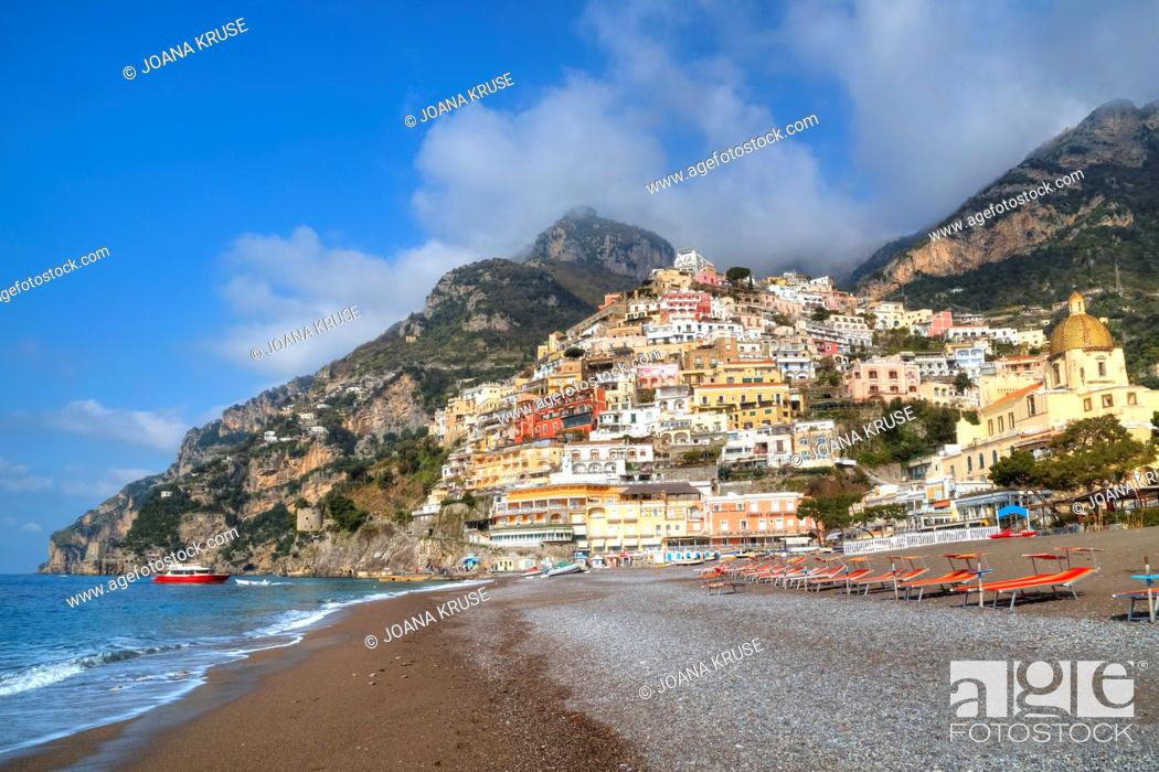 Stock Photo: Positano, Coast of Amalfi, Salerno, Campania, Italy.