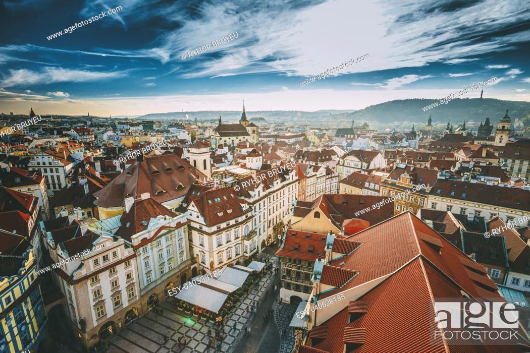 Stock Photo: Cityscape of Prague, Czech Republic. Autumn sunny day.
