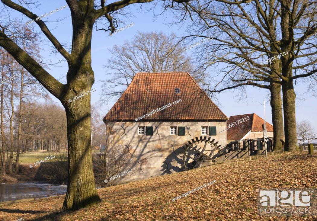 Stock Photo: The Mallumsche watermill near Eibergen in the Dutch region Achterhoek.