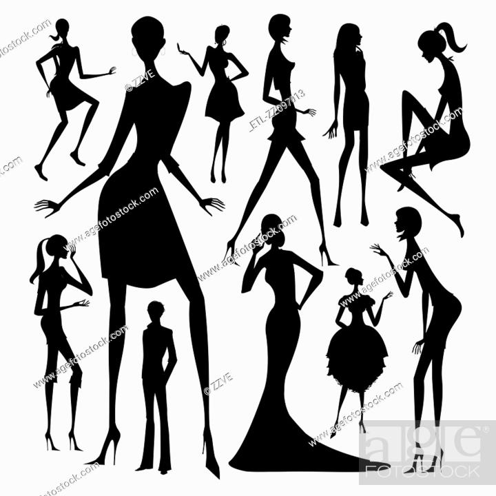 Stock Photo: Set of silhouette of the woman in different dress isolated on white background.