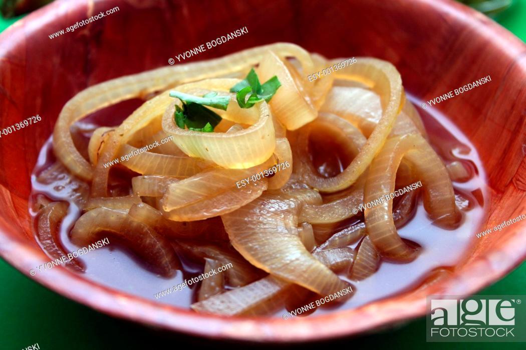 Stock Photo: soup of onions.
