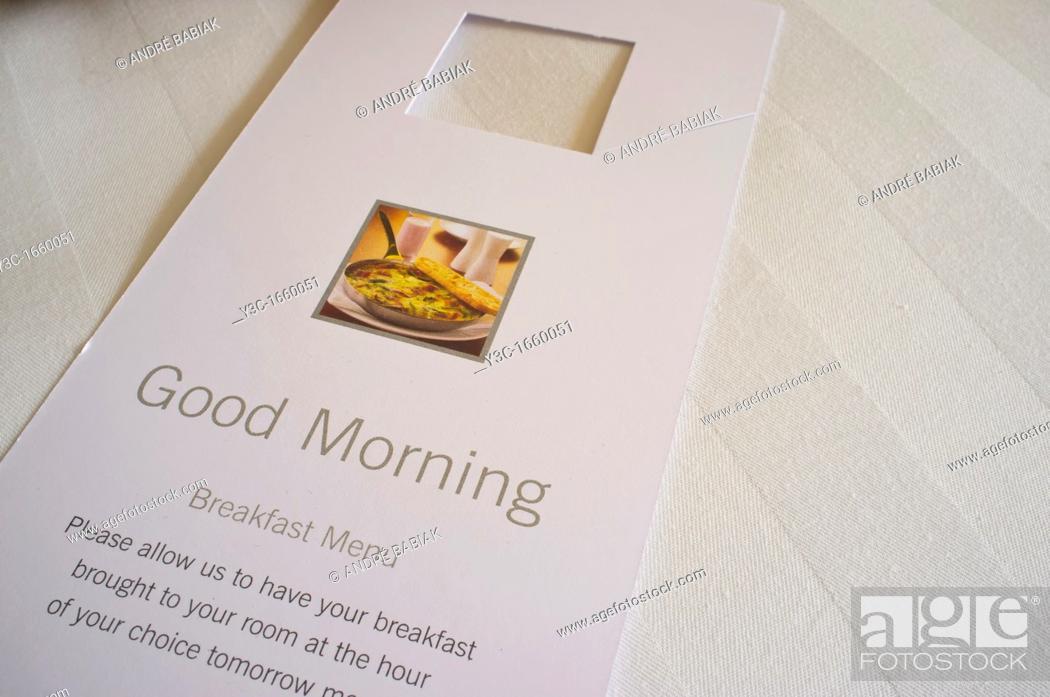 Stock Photo: Good Morning Hotel Room Service Card.