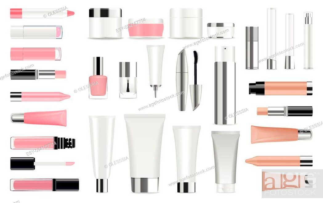 Stock Vector: Super big set of detailed cosmetic tubes isolated on white. Place for your text. Vector.