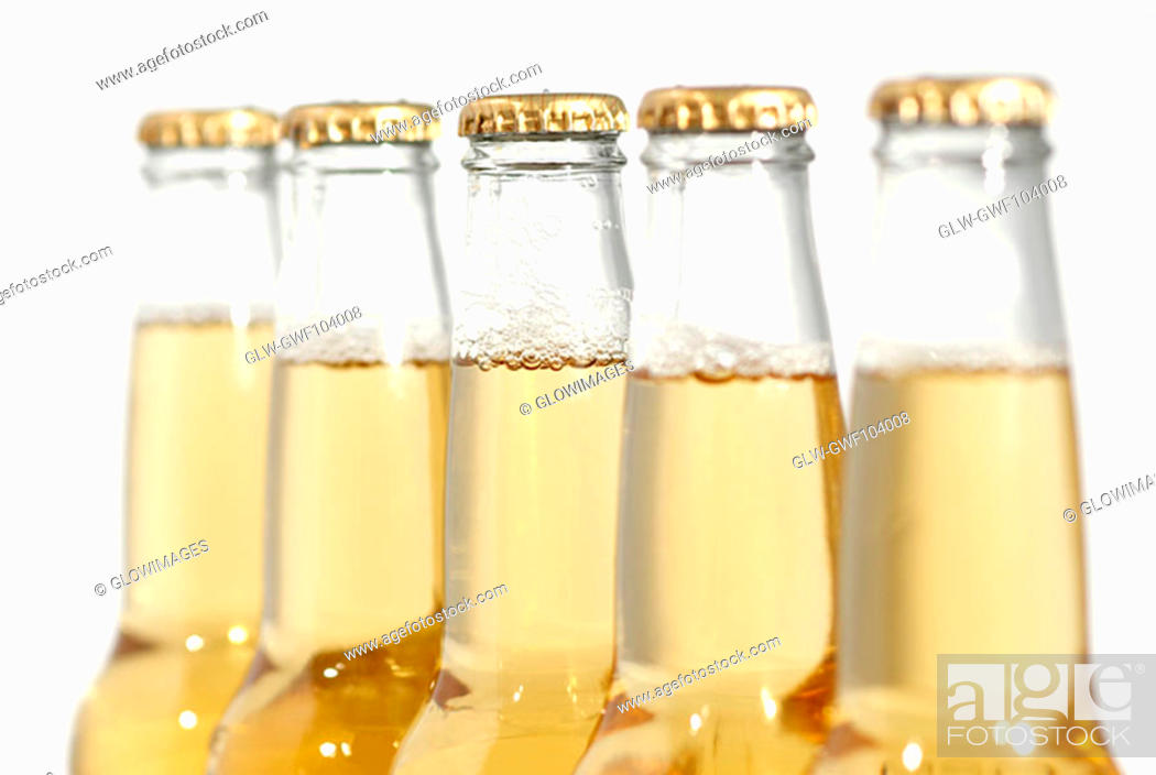 Stock Photo: Close-up of bottles of apple juice.