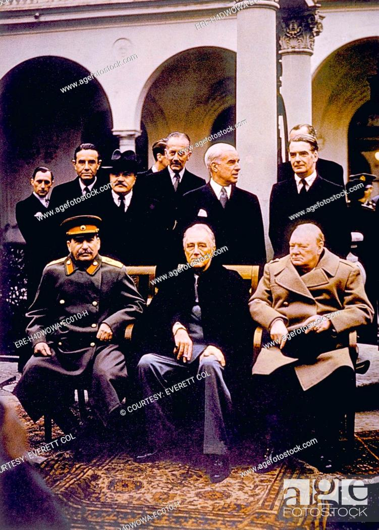 The Yalta Conference Seated Joseph Stalin Franklin D Roosevelt