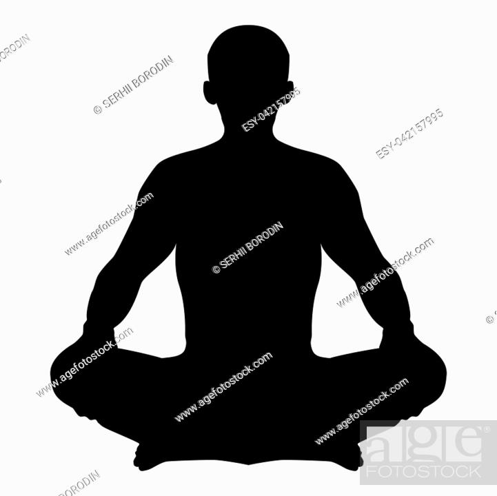 Stock Vector: Man in pose lotus Yoga pose Meditation position silhouette Asana icon black color vector illustration flat style simple image.