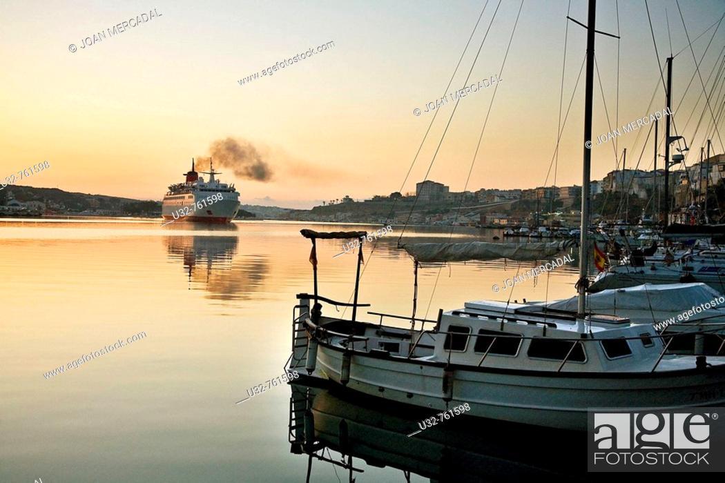 Stock Photo: Boat at port, Mao, Minorca. Balearic Islands, Spain.