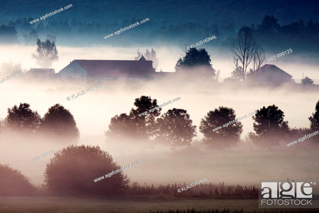 Stock Photo: Watermill 'Schmalzmuehle' at the woernitz river in morning mist - Middle Franconia, Bavaria/Germany.
