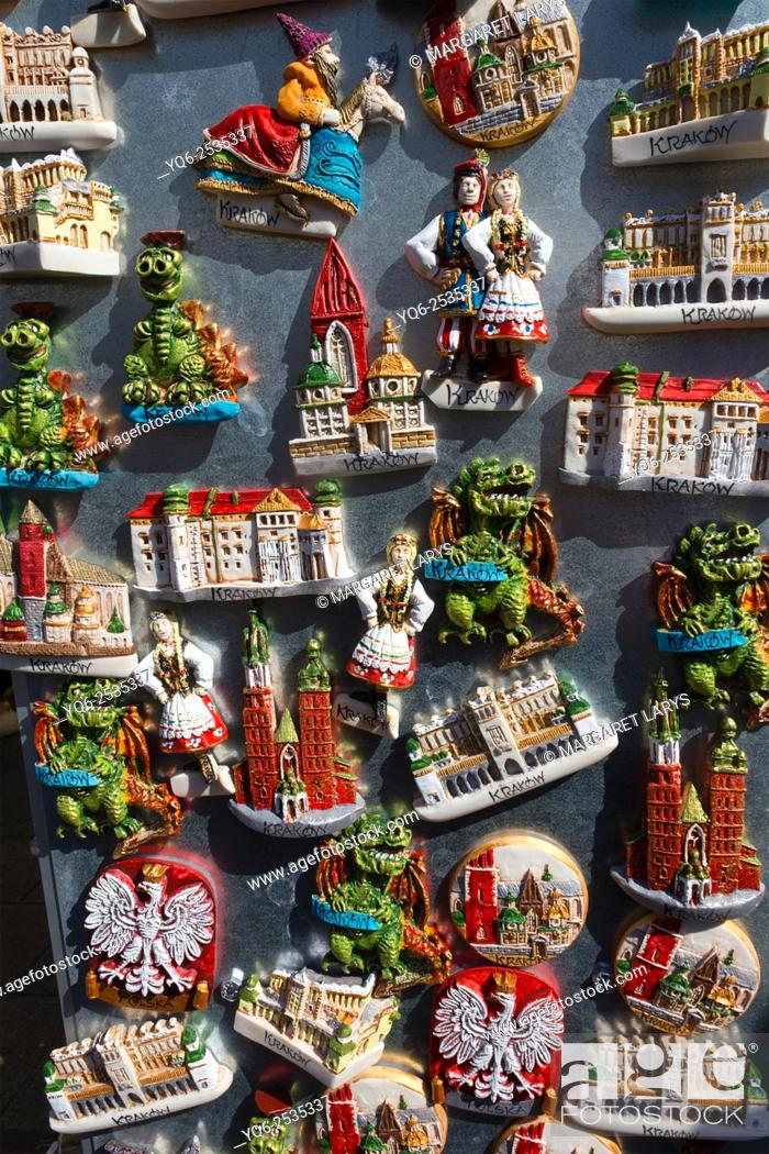 Stock Photo: Beautiful krakow fridge magnets in the market, Poland.