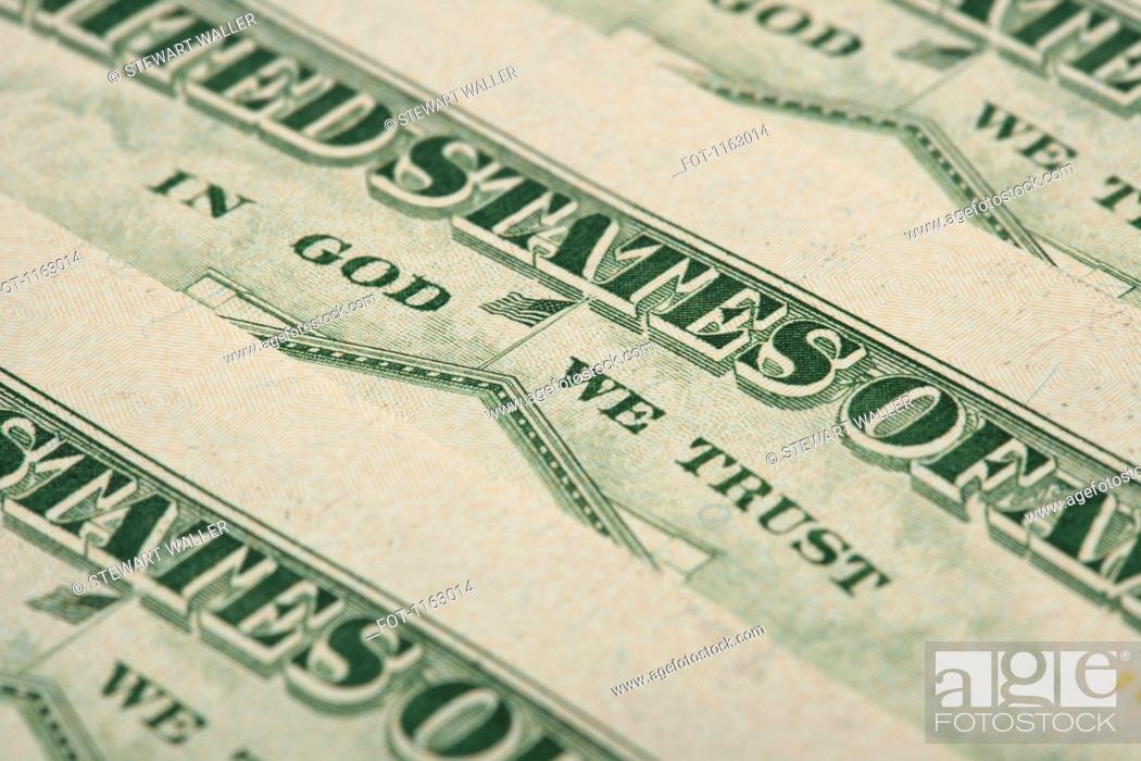 Stock Photo: Arrangement of twenty dollar US bank notes showing reverse side.