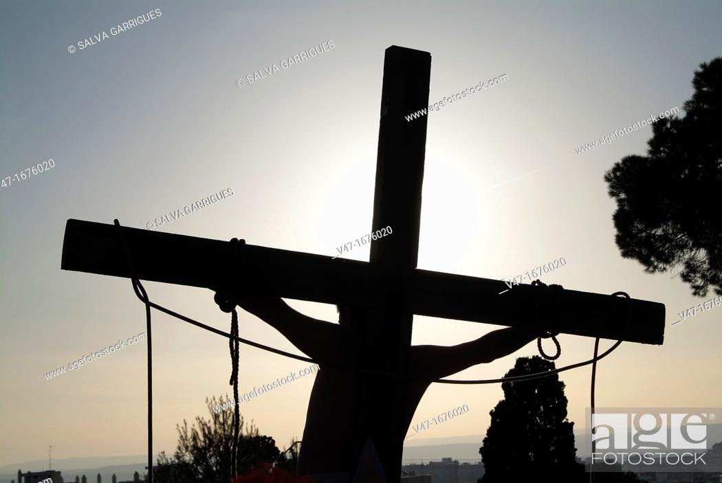 Stock Photo: Representation of the crucifixion of Jesus Christ in the Holy week in Alzira, Valencia, Spain.