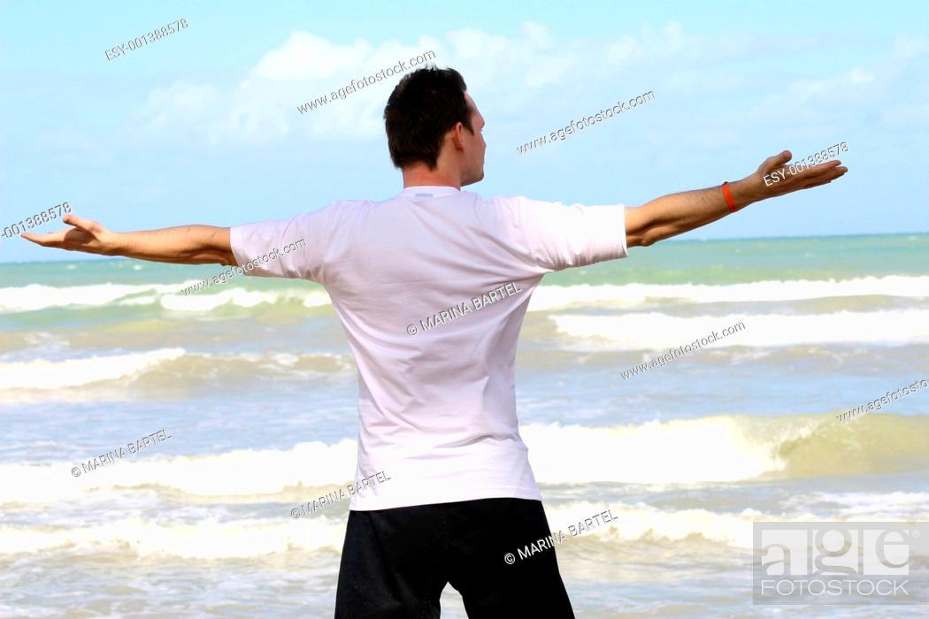 Stock Photo: man doing sport on the beach.
