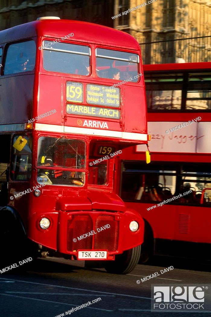 Stock Photo: England - London - red double-decker bus.