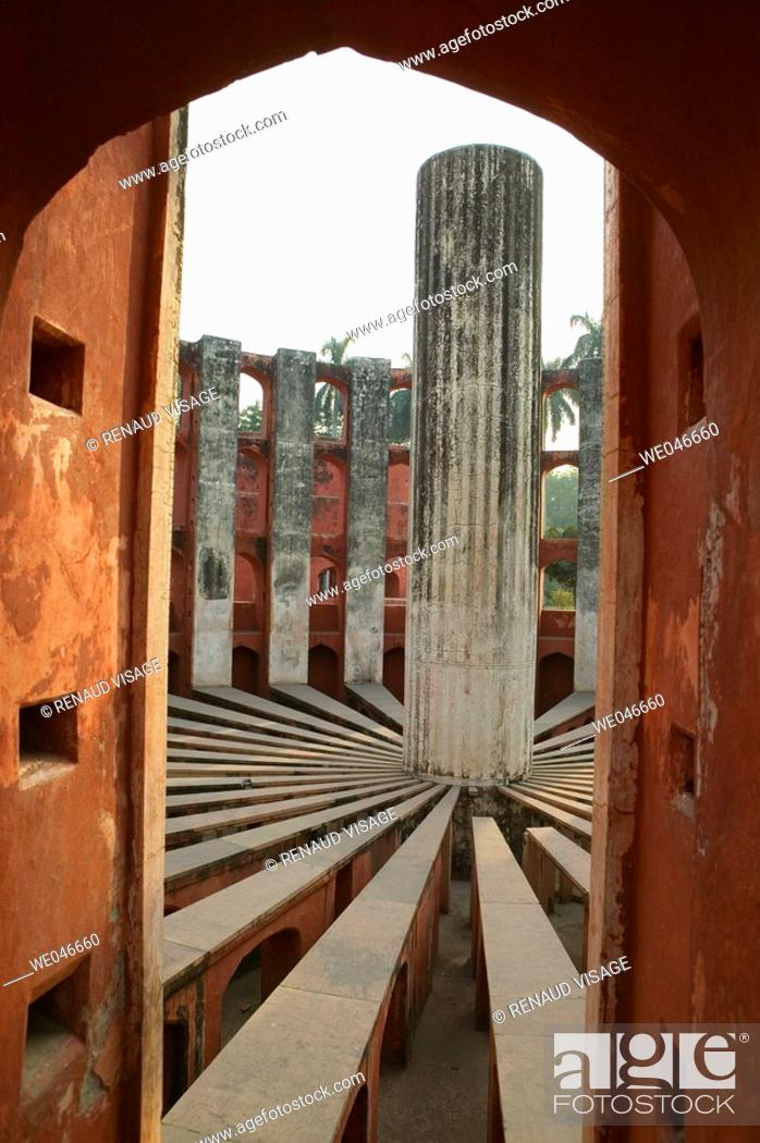 Stock Photo: Giant sundial known as Prince of Dials in Jantar Mantar Observatory. New Delhi. India.