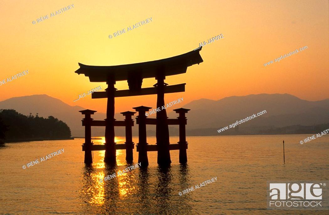 Stock Photo: Japan - The west of Honshu - Hiroshima - Miyajima Island - The grand Torii.