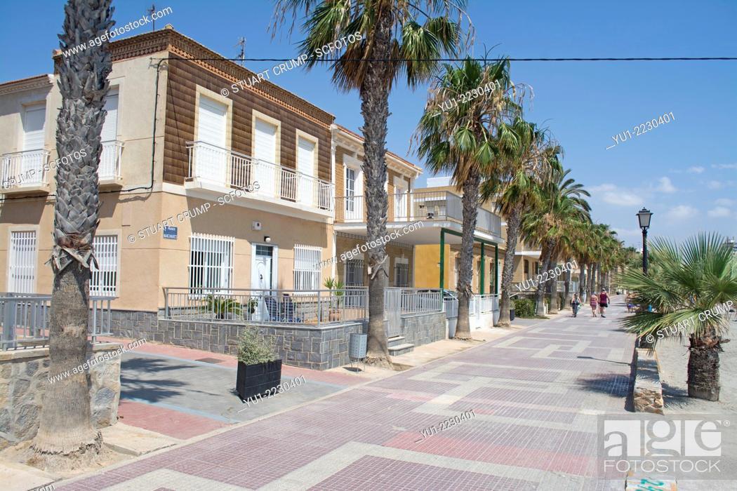 Stock Photo: Houses on the promenade at Los Alcazares, Mar Menor, Murcia, Spain, Europe.