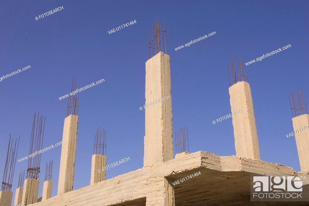 Stock Photo: Clear Sky, Construction, Day, In A Row.