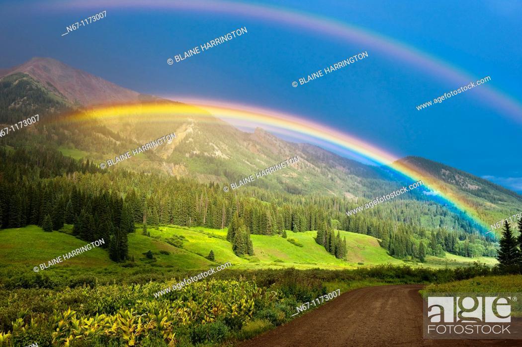 Stock Photo: Double Rainbow, Washington Gulch trailhead, near the town of Gothic, near Crested Butte, Colorado USA.