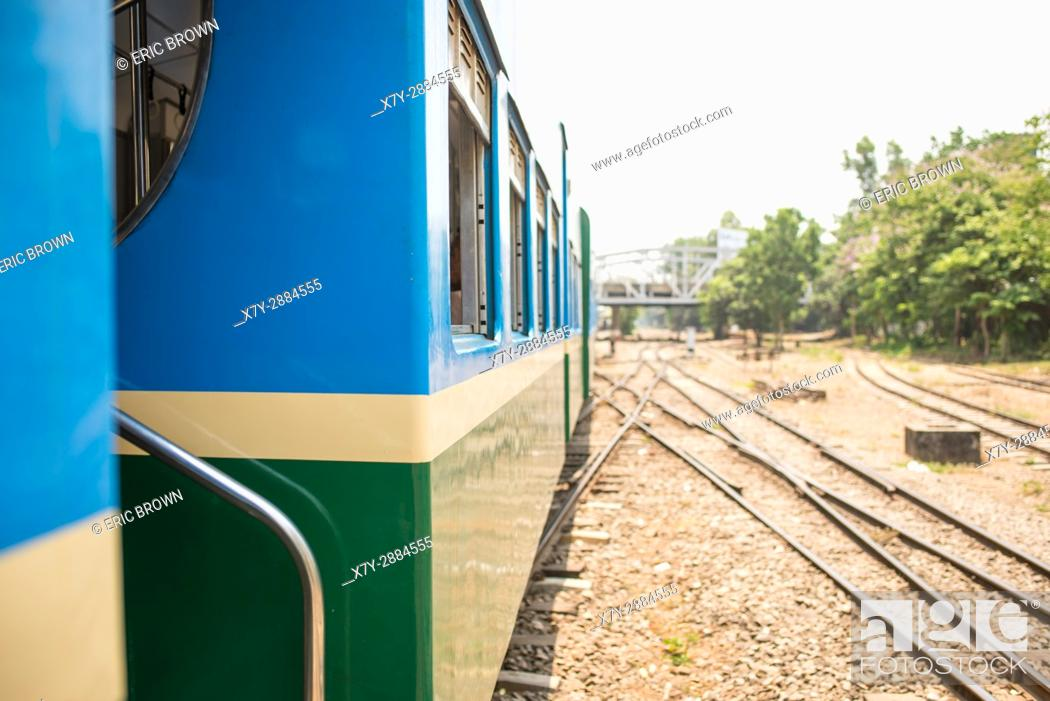 Stock Photo: Riding the Yangon Circular Railway. Yangon, Myanmar.
