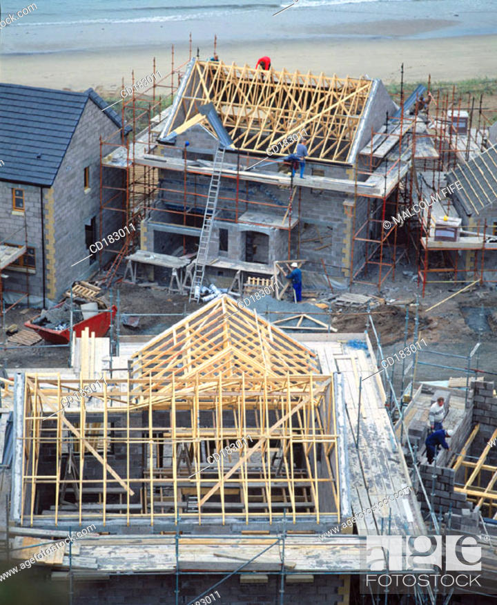 Stock Photo: Houses under construction.