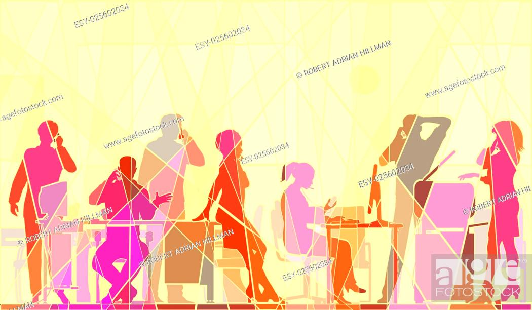 Stock Vector: Editable vector colorful mosaic illustration of business people in an office all talking on cellphones.