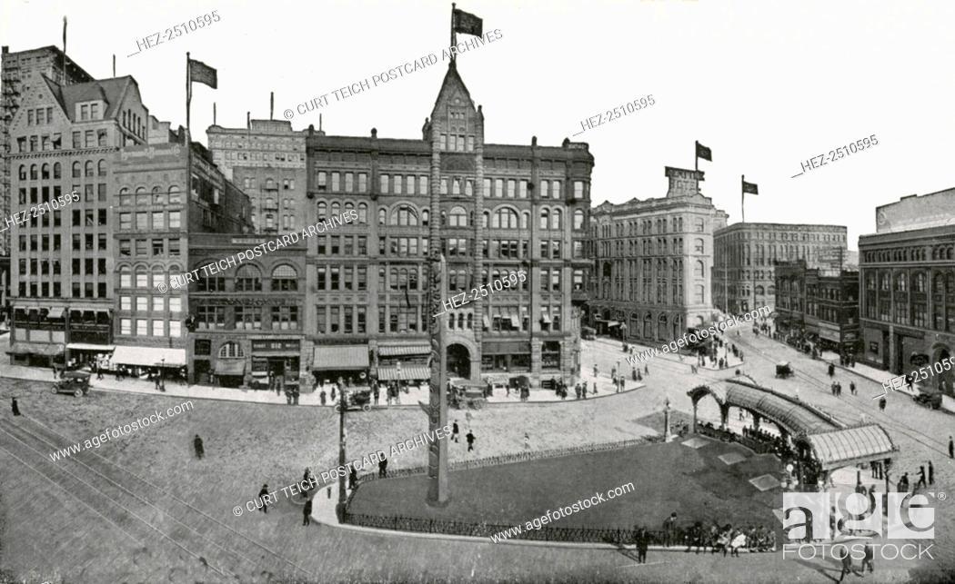 Pioneer Square, Seattle, Washington, USA, 1911  Vintage