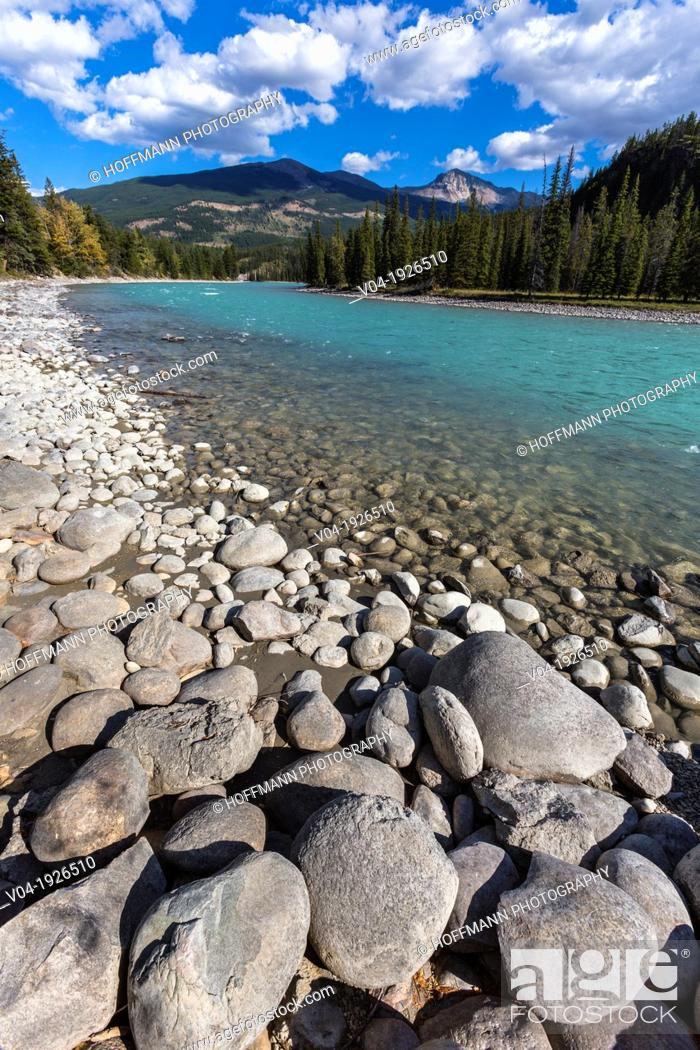 Stock Photo: Athabasca River and mountain range in the background, Jasper National Park, Alberta, Canada.