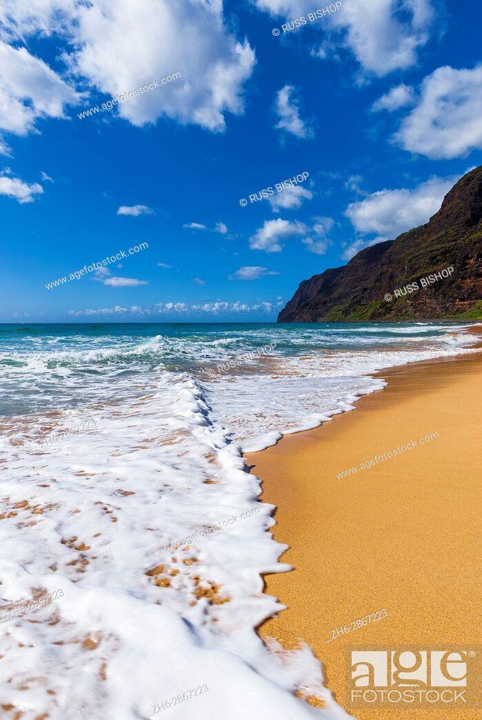 Stock Photo: Surf and sand at Polihale Beach, Polihale State Park, Island of Kauai, Hawaii USA.
