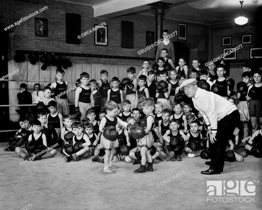 Stock Photo: Navy Children Boxing, Harris & Ewing, 1933.