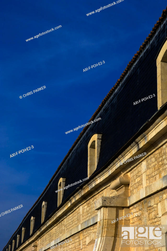 Low angle view of the exterior of Corderie Royale in Rochefort sur
