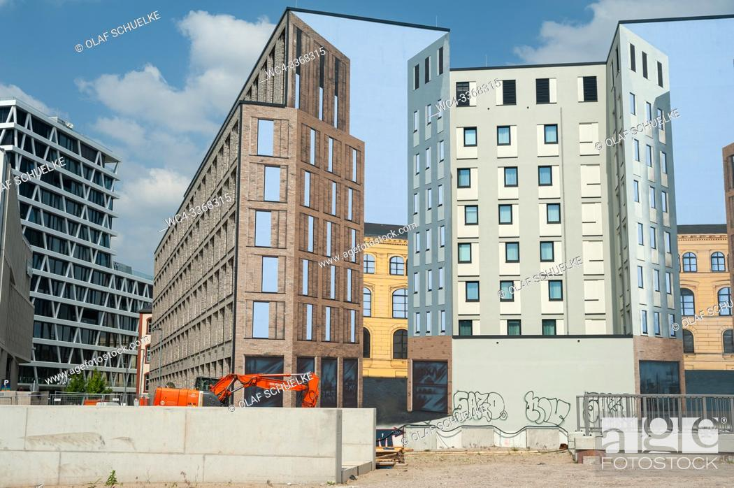 Stock Photo: Berlin, Germany, Europe - Building site for commercial buildings with mockup facade on Heidestrasse in the Europacity in Berlin Moabit.